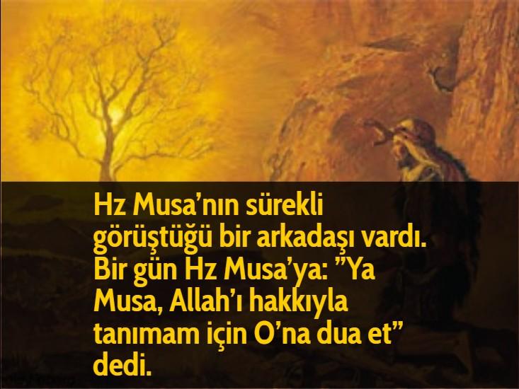 """Hz Musa'nın sürekli görüştüğü bir arkadaşı vardı. Bir gün Hz Musa'ya: """"Ya Musa, Allah'ı hakkıyla tanımam için O'na dua et"""" dedi."""
