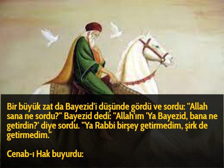 Bir büyük zat da Bayezid'i düşünde gördü ve sordu: ''Allah sana ne sordu?'' Bayezid dedi: ''Allah'ım 'Ya Bayezid, bana ne getirdin?' diye sordu. ''Ya Rabbi birşey getirmedim, şirk de getirmedim.''  Cenab-ı Hak buyurdu:
