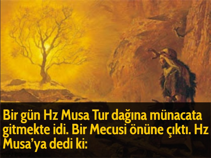 Bir gün Hz Musa Tur dağına münacata gitmekte idi. Bir Mecusi önüne çıktı. Hz Musa'ya dedi ki: