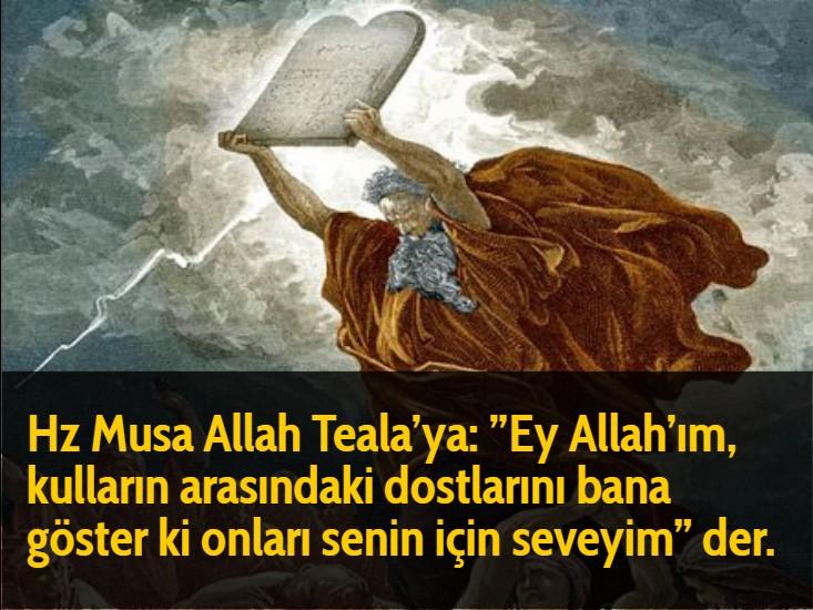 """Hz Musa Allah Teala'ya: """"Ey Allah'ım, kulların arasındaki dostlarını bana göster ki onları senin için seveyim"""" der."""