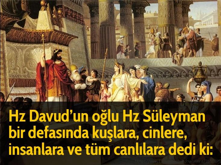 Hz Davud'un oğlu Hz Süleyman bir defasında kuşlara, cinlere, insanlara ve tüm canlılara dedi ki: