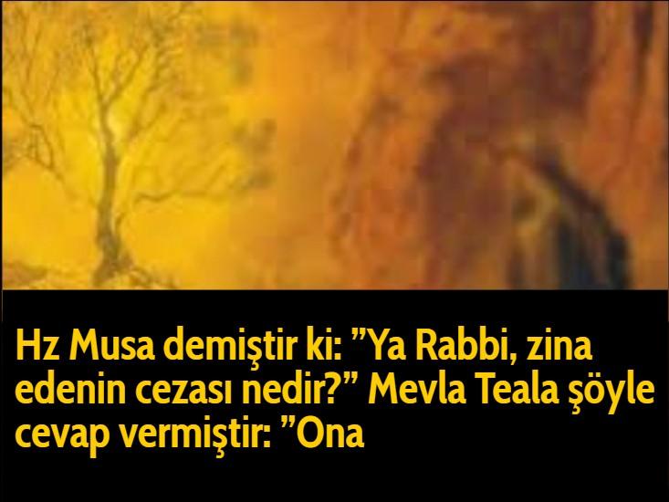 """Hz Musa demiştir ki:""""Ya Rabbi, zina edenin cezası nedir?""""Mevla Teala şöyle cevap vermiştir:""""Ona"""