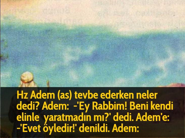 Hz Adem (as) tevbe ederken neler dedi? Adem:  -'Ey Rabbim! Beni kendi elinle yaratmadın mı?' dedi. Adem'e:  -'Evet öyledir!' denildi. Adem: