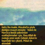 Hafız İbn Asakir, Mücahid'in şöyle dediğini rivayet etmiştir:  ''Adem ile Havva'yı kendi yakınından uzaklaştırmaları için, Yüce Allah iki meleğe emir verdi. Cebrail, Adem'in başındaki tacı çıkardı. Mikail de alnındaki