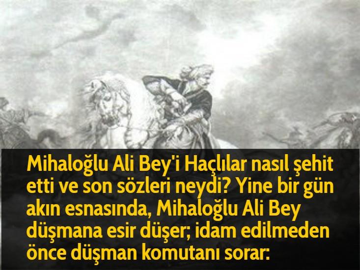 Mihaloğlu Ali Bey'i Haçlılar nasıl şehit etti ve son sözleri neydi? Yine bir gün akın esnasında, Mihaloğlu Ali Bey düşmana esir düşer; idam edilmeden önce düşman komutanı sorar: