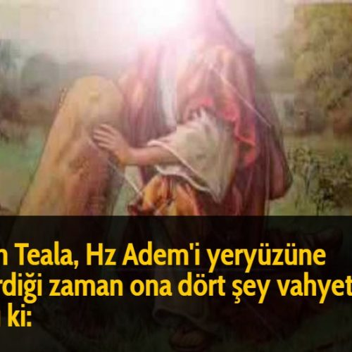 Allah Teala, Hz Adem'i yeryüzüne indirdiği zaman ona dört şey vahyetti ve dedi ki: