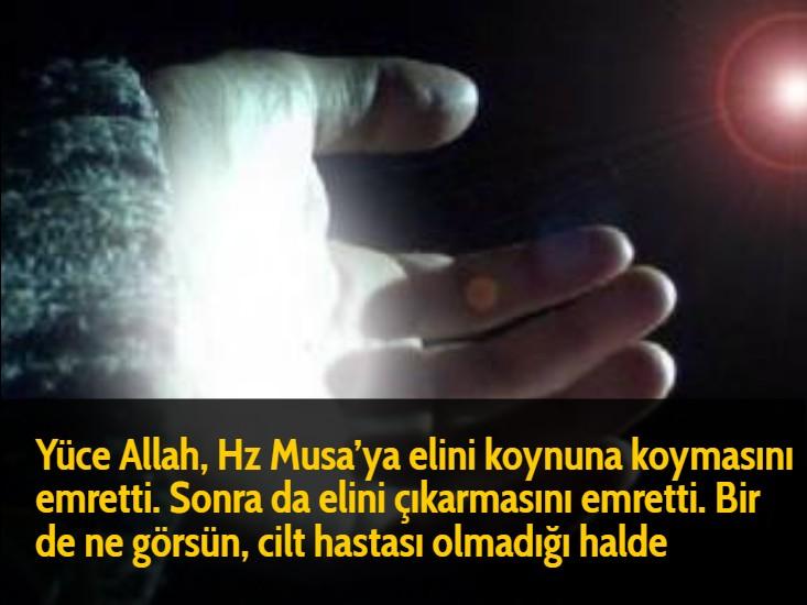 Yüce Allah, Hz Musa'ya elini koynuna koymasını emretti. Sonra da elini çıkarmasını emretti. Bir de ne görsün, cilt hastası olmadığı halde