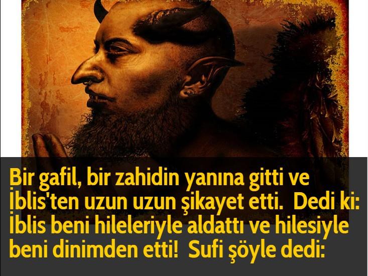 Bir gafil, bir zahidin yanına gitti ve İblis'ten uzun uzun şikayet etti.  Dedi ki: İblis beni hileleriyle aldattı ve hilesiyle beni dinimden etti!  Sufi şöyle dedi: